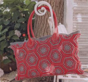 Летняя сумка из шестиугольных мотивов