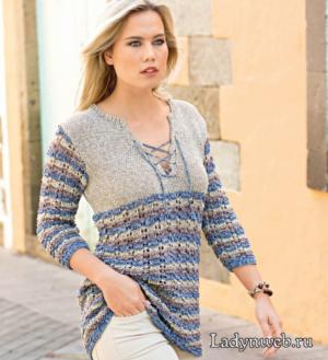 Пуловер со шнуровкой и узором в полоску