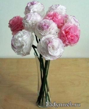 Розы из папиросной бумаги мастер класс