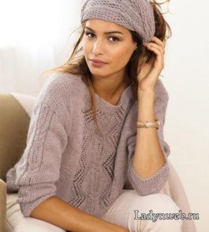 Пуловер с бордюром и ажурный шарф