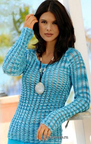 Пуловер вязаный ажурной резинкой