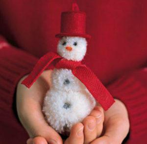 Снеговик из помпонов на елку мастер класс
