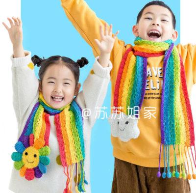 Радужный шарф крючком схема