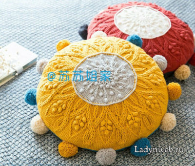 Круглая подушка с помпонами крючком схема