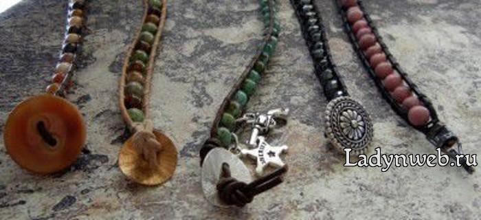 Стильный кожаный браслет с бусинами мастер класс
