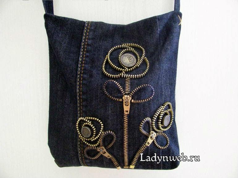 Джинсовая сумка с украшением из молний мастер класс