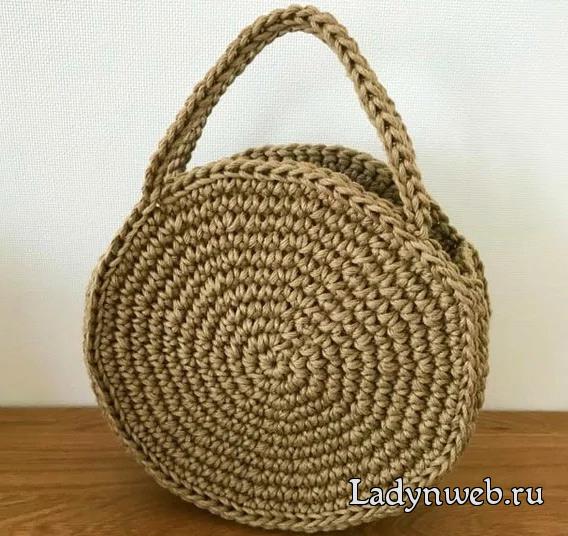 Круглая сумка из джута крючком мастер класс