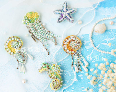 Броши крючком с бисером схемы: морской конек, звезда, раковина и медуза