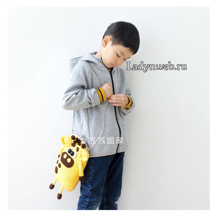 Детская сумка бычок и кошелек крючком схемы
