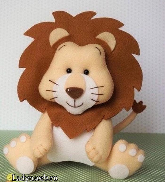 Игрушка лев из фетра выкройки и мастер класс